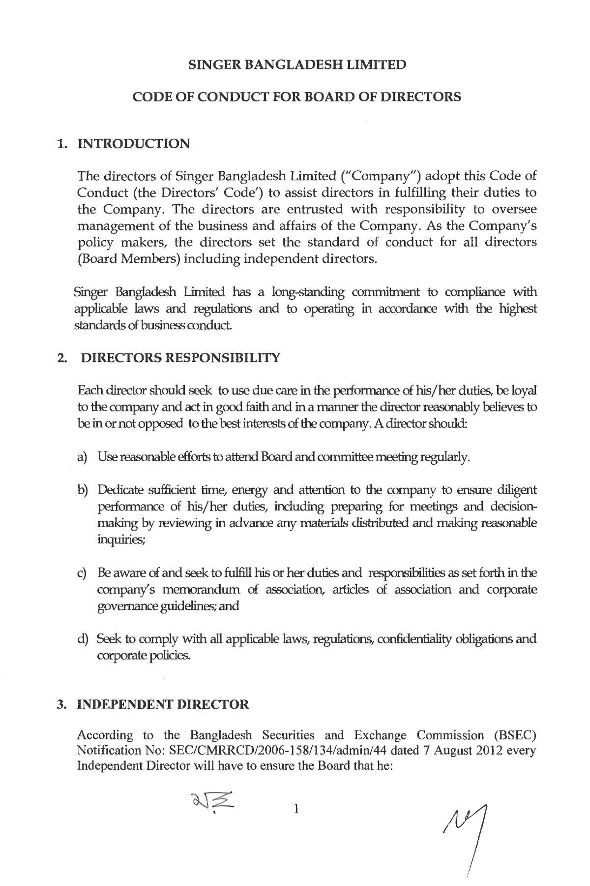 Code of Conduct | SingerBD