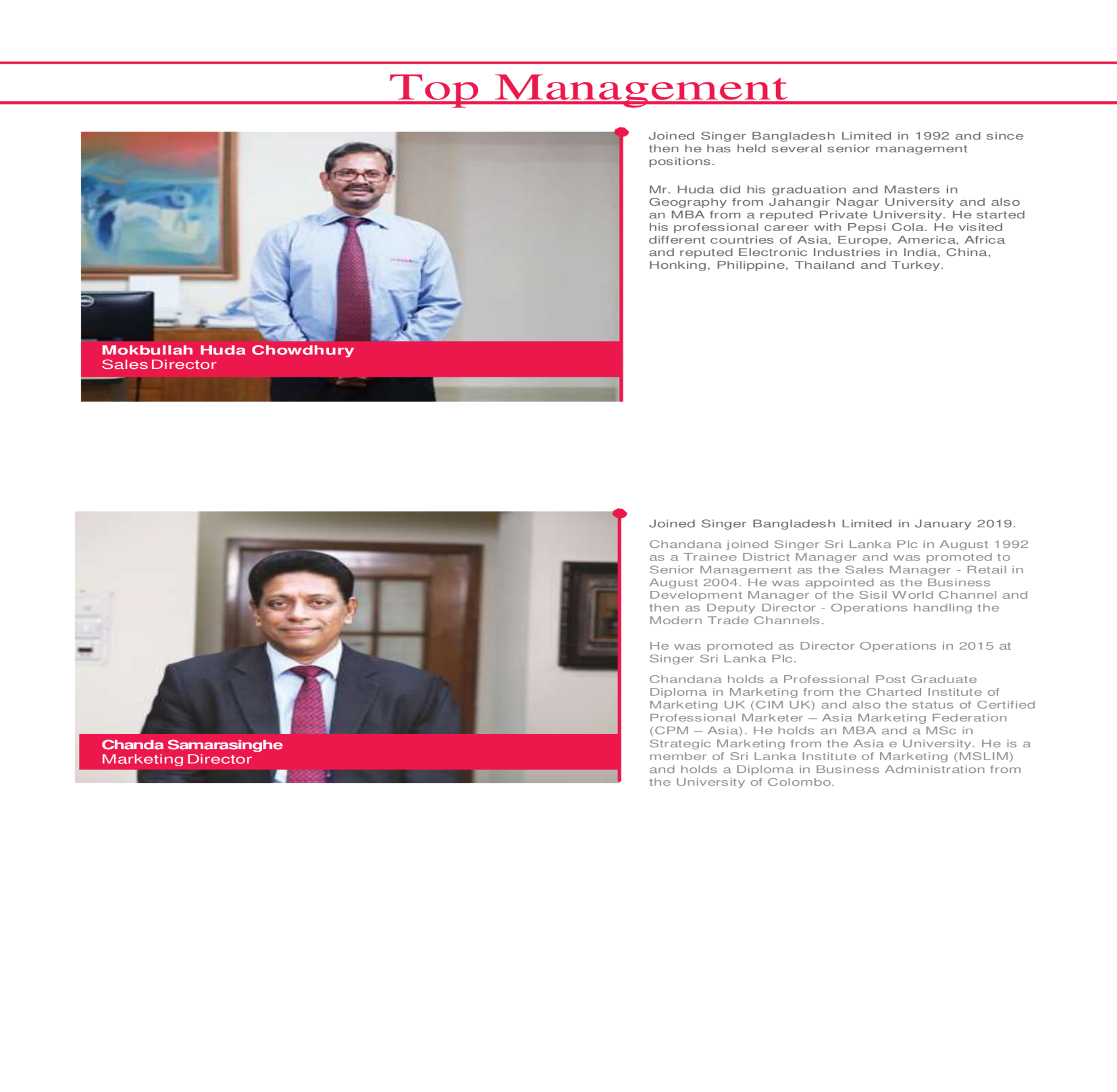 Top Managenment | SingerBD